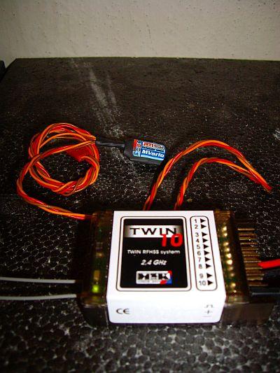 Přijímač Twin10E s připojeným senzorem MVario